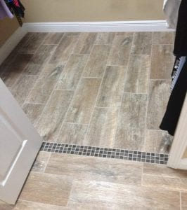 floor install with pattern at the door jam