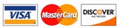 Credit card logos: visa mastercard and Discovery