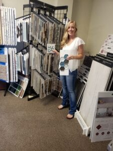 a large collection of flooring samples in tricolor flooring showroom
