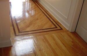 hardwood floor with a border