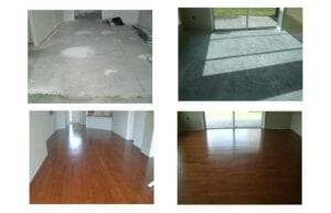 Before and after flooring installation